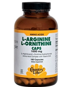 Country Life L-Arginine, L-Ornithine (180 капсул)