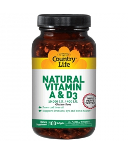 Country Life Natural Vitamin A&D (100 капсул)