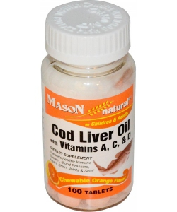 Mason Naturals Cod Liver Oil with Vitamins A, C, & D (100 таблеток)