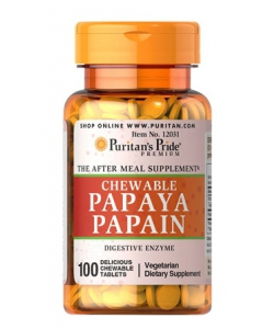 Puritan's Pride Chewable Papaya Papain (100 таблеток, 33 порции)