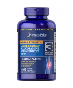 Puritan's Pride  Joint Soother® Double Strength Glucosamine, Chondroitin MSM (480 капсул, 80 порций)