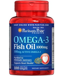 Puritan's Pride Omega-3 Fish Oil 1000 mg (100 капсул)