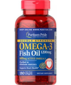 Puritan's Pride Double Strength Omega-3 Fish Oil 1200 mg (180 капсул, 180 порций)