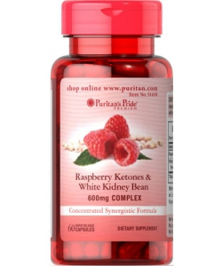 Puritan's Pride Raspberry Ketones & White Kidney Bean (60 капсул, 60 порций)