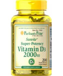 Puritan's Pride Sunvite Super-Potency Vitamin D3 2000 IU (200 капсул, 200 порций)