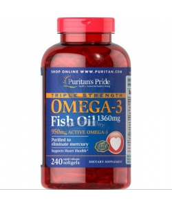 Puritan's Pride Triple Strength Omega-3 Fish Oil 1360 mg (240 капсул, 240 порций)