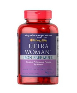 Puritan's Pride Ultra Women Daily Multi Iron Free Timed (90 капсул, 45 порций)